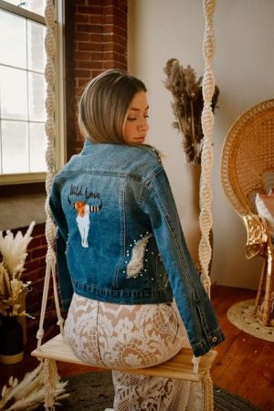 Blue Jean Jacket embroidered
